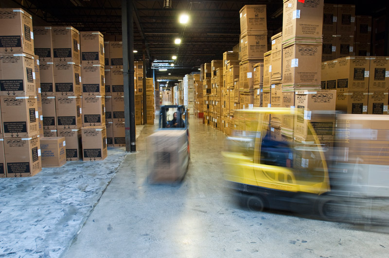 vehicles moving in a warehouse